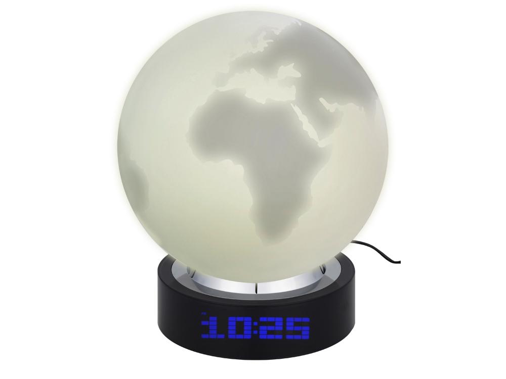 Лампа настольная с часами, датой и термометром. При включении на поверхности лампы появляется стилизованное изображение земного шара - 1