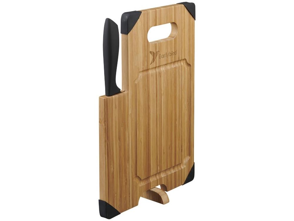 Разделочная доска с ножом Bamboo, коричневый/черный - 5