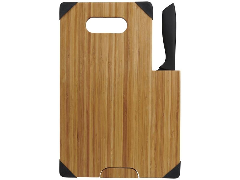 Разделочная доска с ножом Bamboo, коричневый/черный - 3