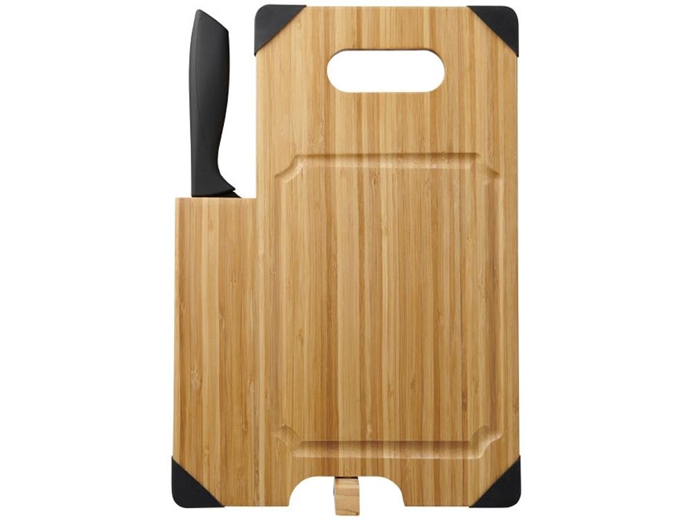 Разделочная доска с ножом Bamboo, коричневый/черный - 2