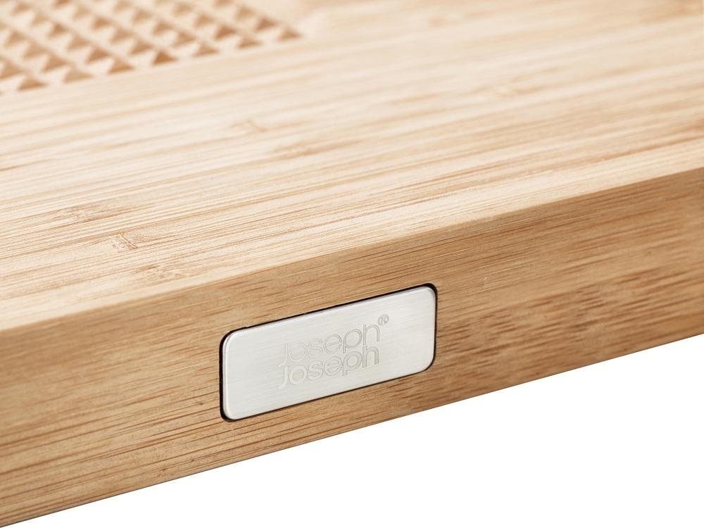 Доска разделочная Cut & Carve Bamboo, натуральный, бамбук, сталь, силикон - 4