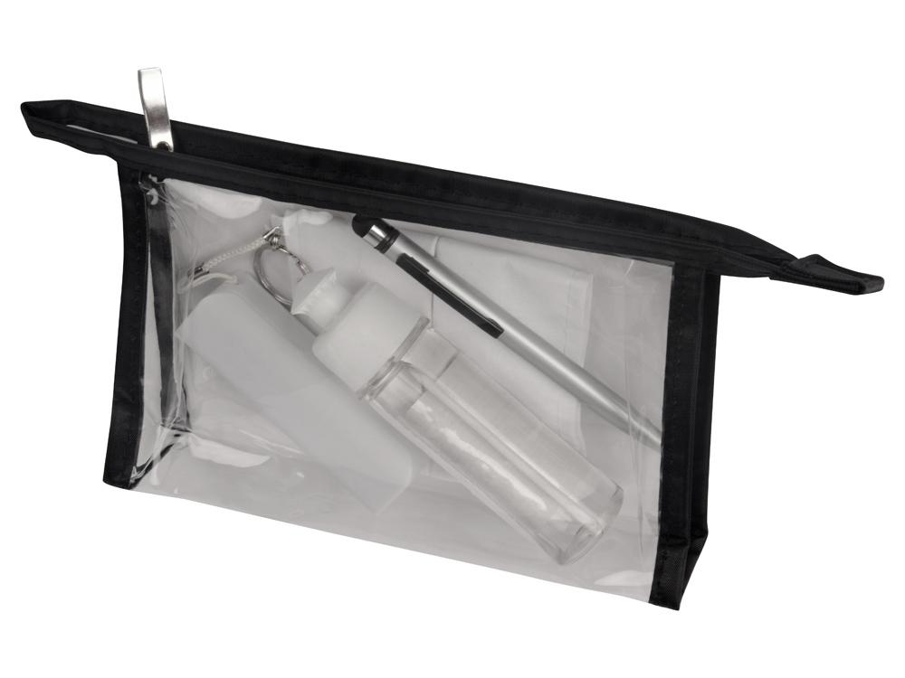 Набор средств индивидуальной защиты «Компакт», косметичка- прозрачный/черный, маска- белый, зарядное устройство- белый, ручка- серебристый/черный, косметичка- ПВХ, маска- 100% хлопок, зарядное учтройство- пластик, ручка- металл - 1