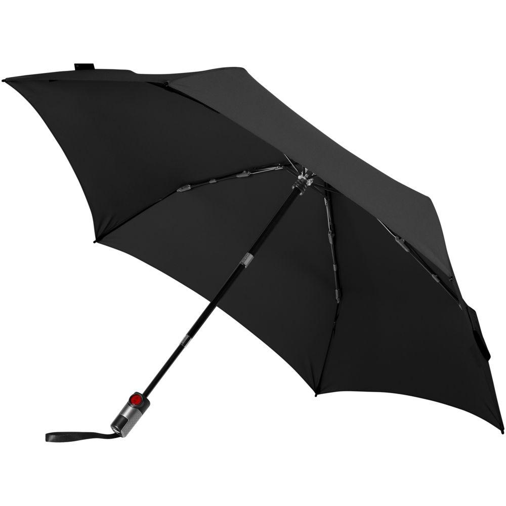 Зонт складной TS220 с безопасным механизмом, черный - 2