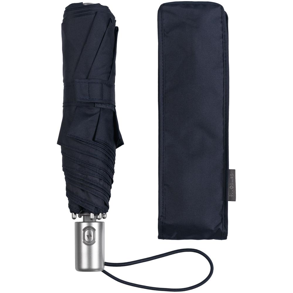 Складной зонт Alu Drop, 3 сложения, 7 спиц, автомат, темно-синий - 1