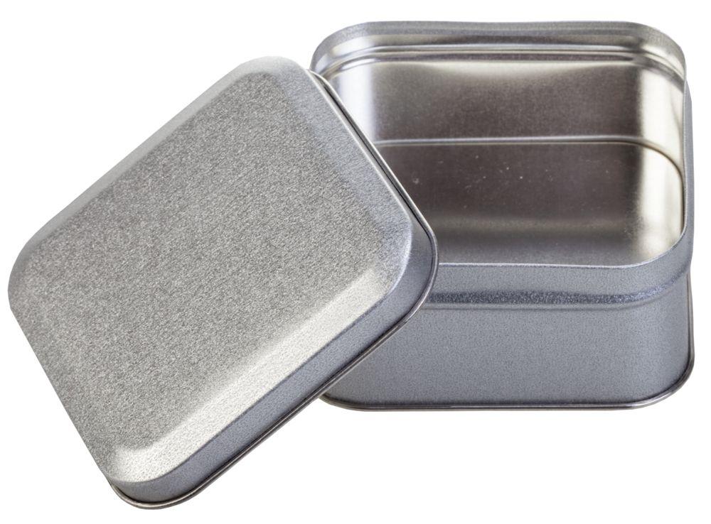 Коробка квадратная, серебристая, 7,6х7,6х4 см, жесть - 1