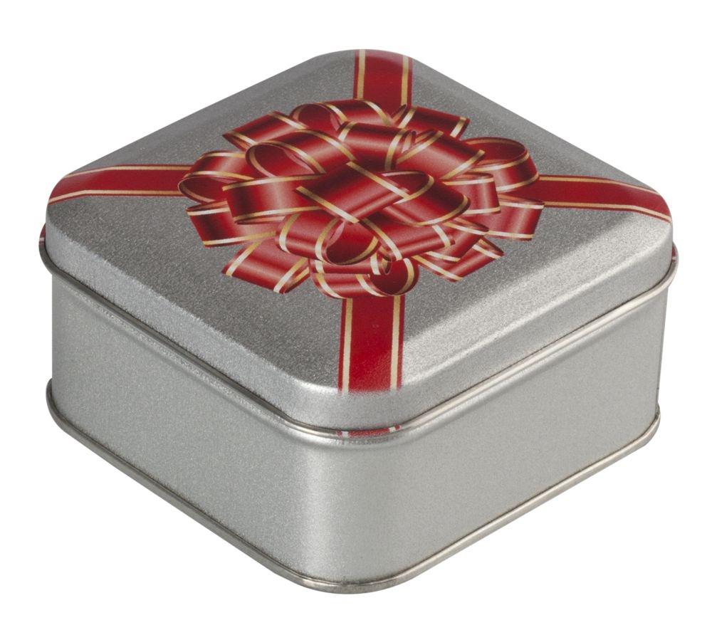 Коробка квадратная, серебристая, 7,6х7,6х4 см, жесть - 2