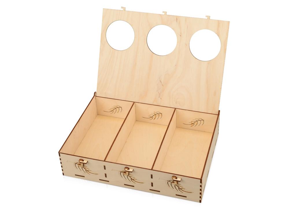 Подарочная деревянная коробка «Лист», 30 х 21 х 7,5 см, березовая фанера - 1