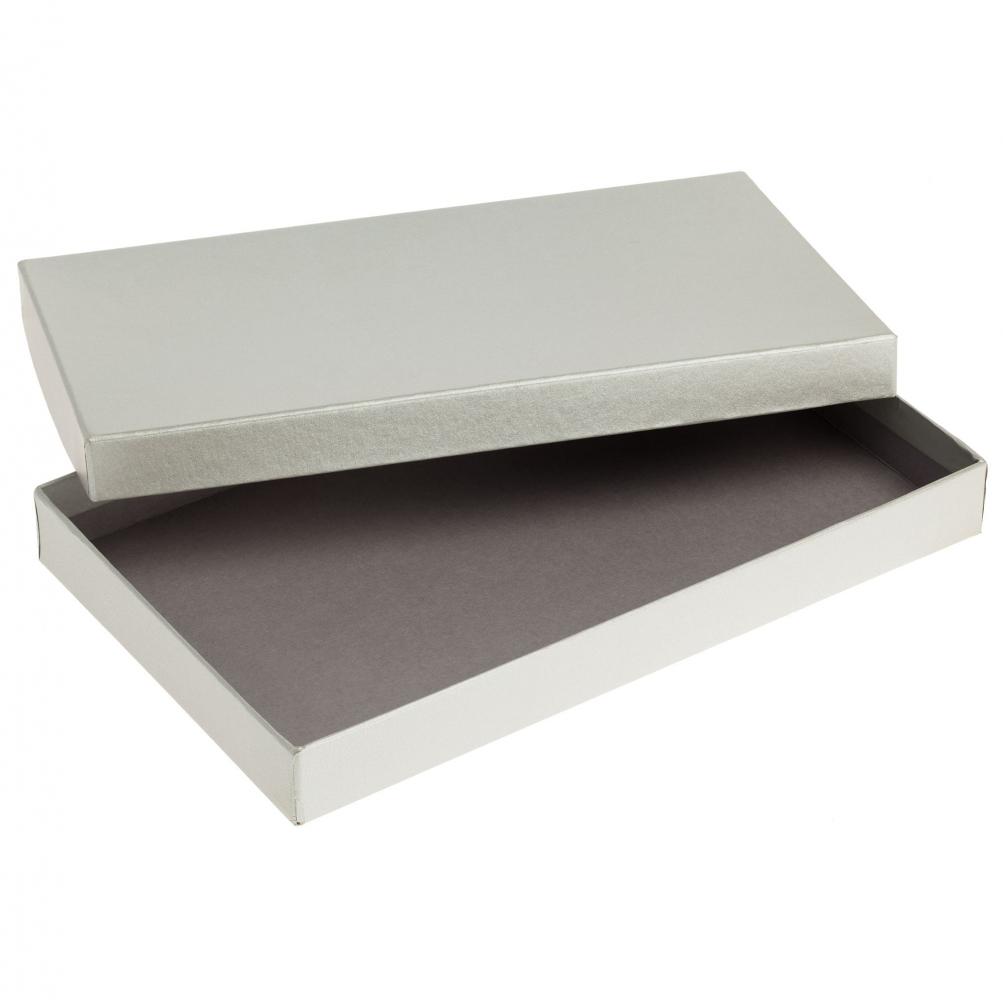 Коробка Horizon, серебристая, 29,7х18х3,5 см, переплетный картон - 1