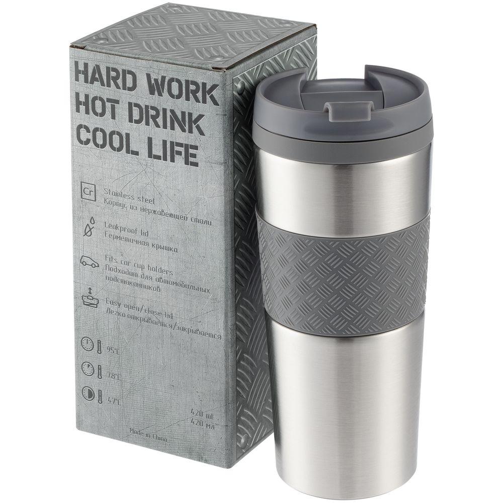 Термостакан Hard Work, вакуумный, серебристый - 1
