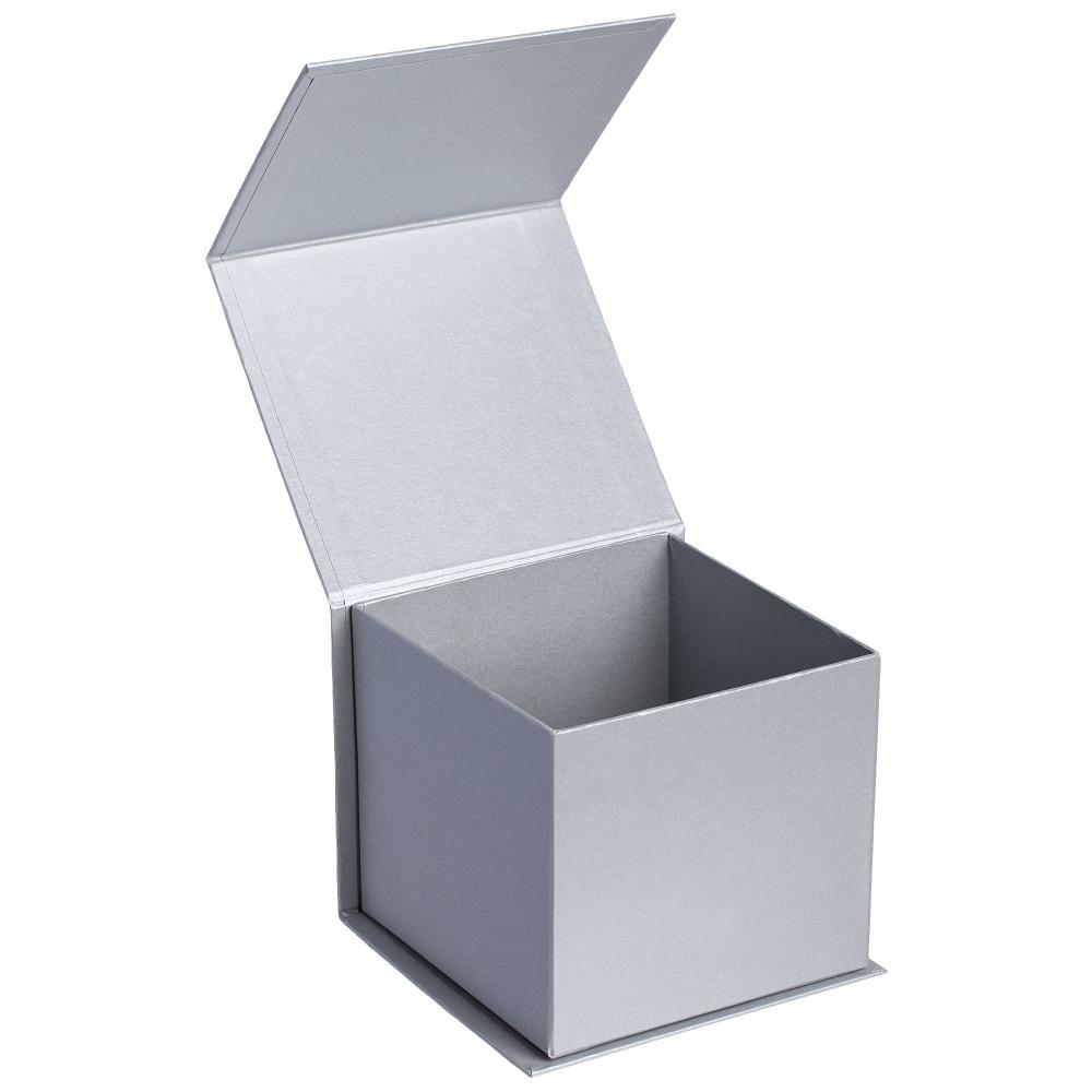 Коробка Alian, серебристая, 13,5х12,5х11,5 см, переплетный картон - 1