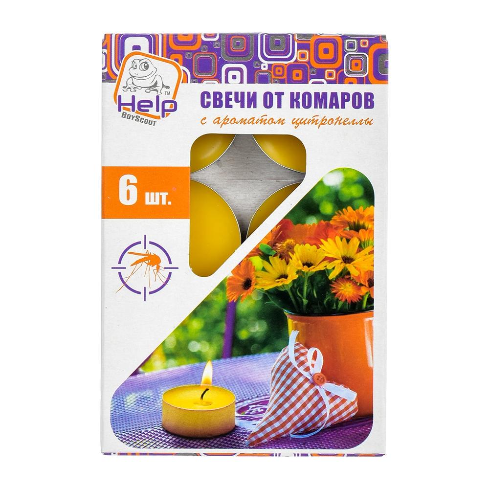 Свечи чайные от КОМАРОВ, c ароматом цитронеллы, 6 шт. в уп. - 1