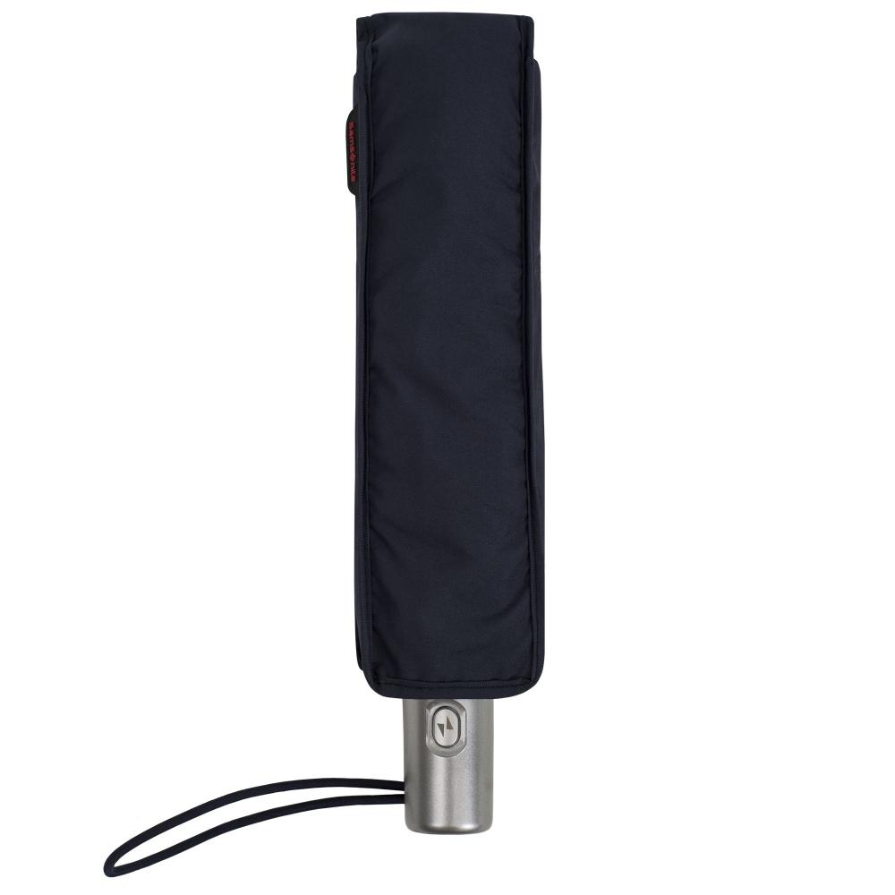 Складной зонт Alu Drop, 3 сложения, 7 спиц, автомат, темно-синий - 10