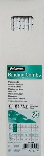 Пружины для переплета пластиковые Fellowes®, 12 мм., (56-80 листов), 100 шт.,  21 кольцо, белые. - 2