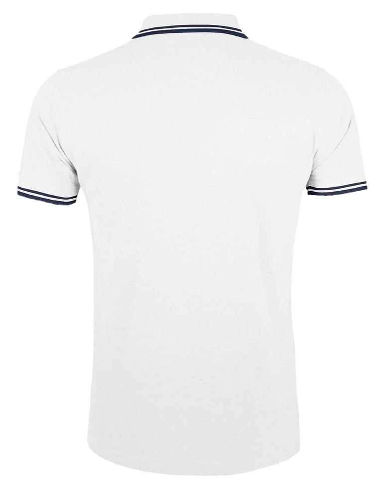 Рубашка поло мужская Pasadena Men 200 с контрастной отделкой, белая с синим - 1