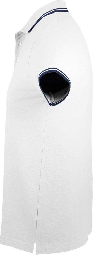 Рубашка поло мужская Pasadena Men 200 с контрастной отделкой, белая с синим - 2