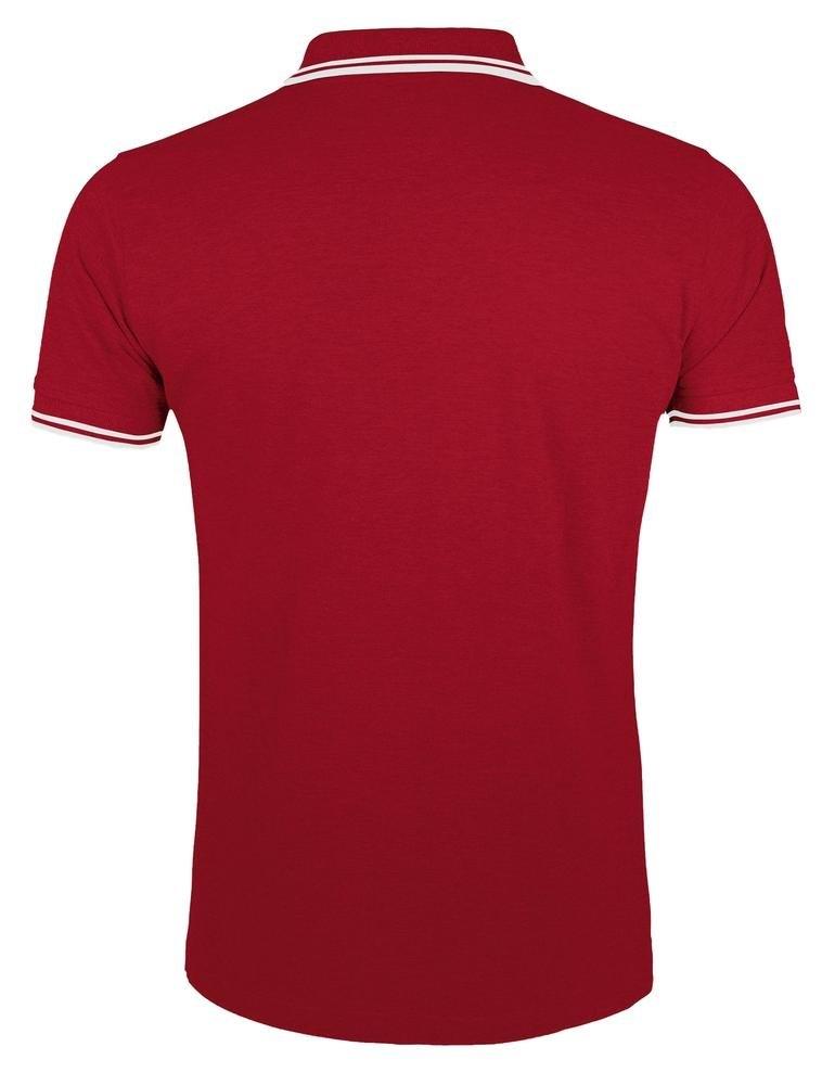 Рубашка поло мужская Pasadena Men 200 с контрастной отделкой, красная с белым - 1