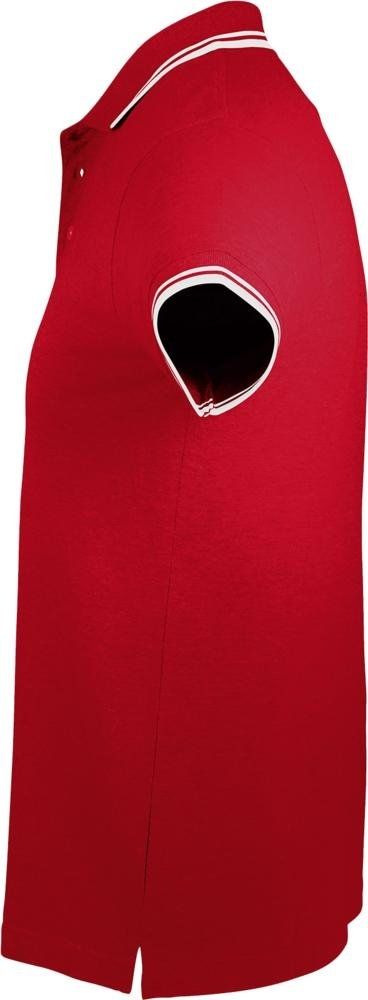 Рубашка поло мужская Pasadena Men 200 с контрастной отделкой, красная с белым - 2