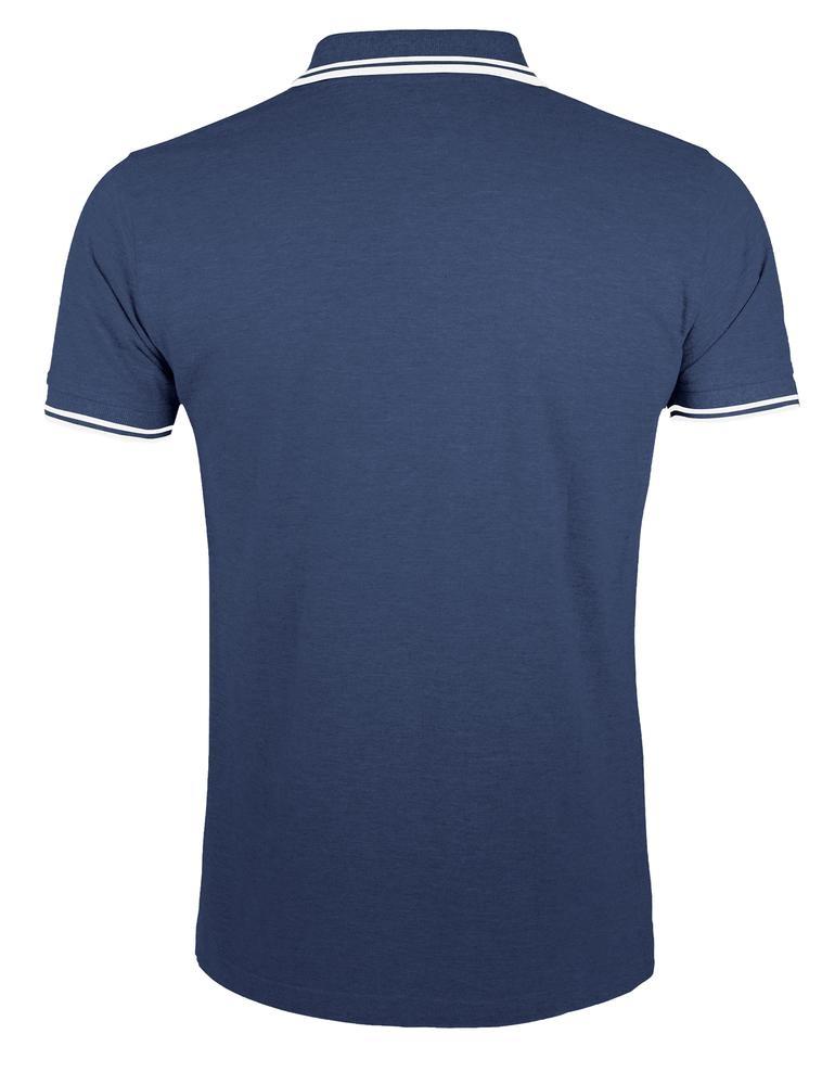 Рубашка поло мужская Pasadena Men 200 с контрастной отделкой, темно-синяя с белым - 1