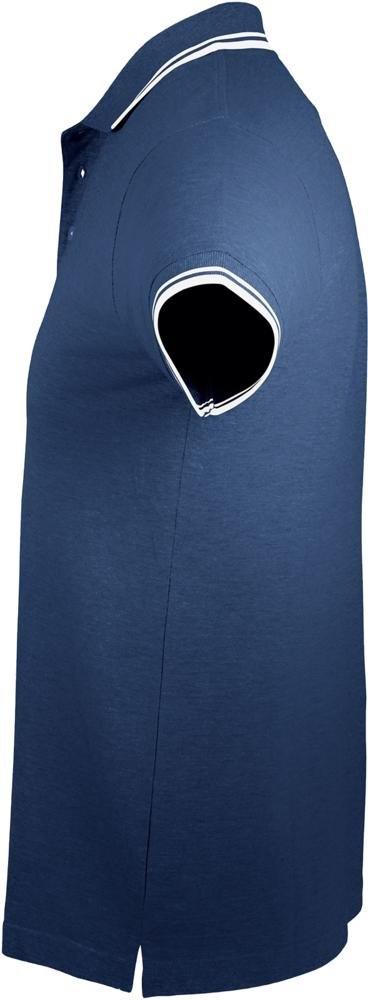 Рубашка поло мужская Pasadena Men 200 с контрастной отделкой, темно-синяя с белым - 2