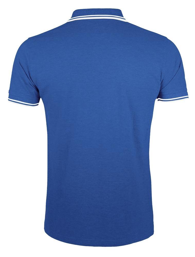 Рубашка поло мужская Pasadena Men 200 с контрастной отделкой, ярко-синяя с белым - 1