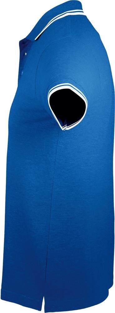 Рубашка поло мужская Pasadena Men 200 с контрастной отделкой, ярко-синяя с белым - 2