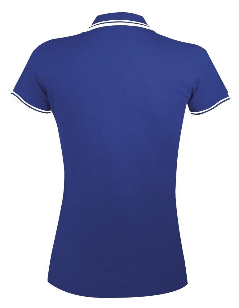 Рубашка поло женская Pasadena Women 200 с контрастной отделкой, ярко-синяя с белым - 6