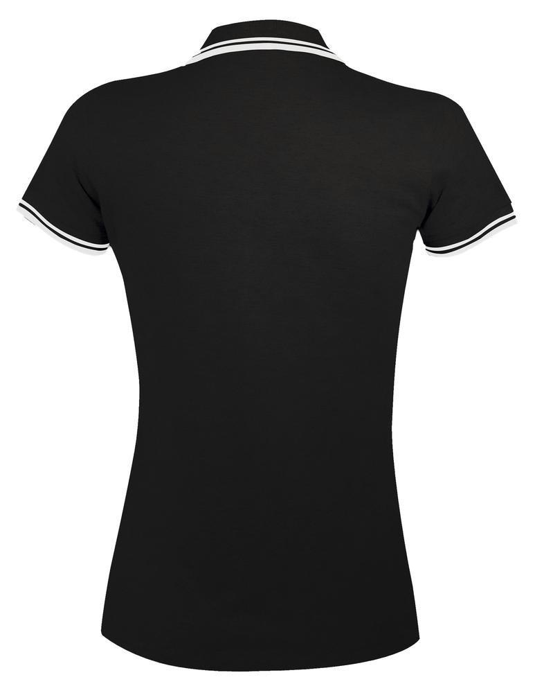 Рубашка поло женская Pasadena Women 200 с контрастной отделкой, черная с белым - 4