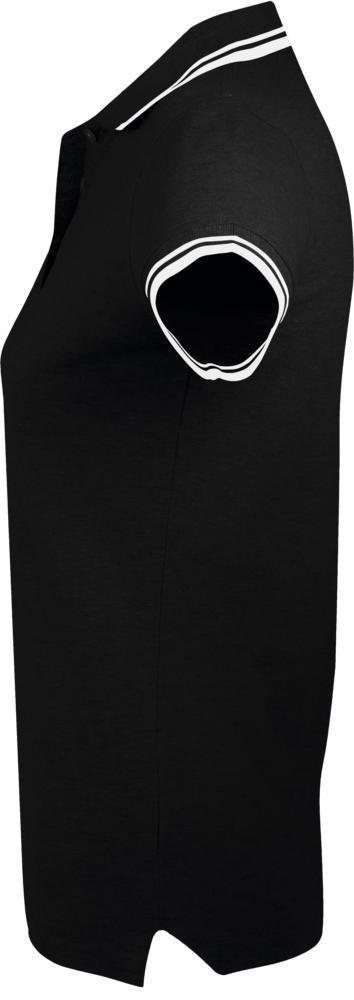 Рубашка поло женская Pasadena Women 200 с контрастной отделкой, черная с белым - 5