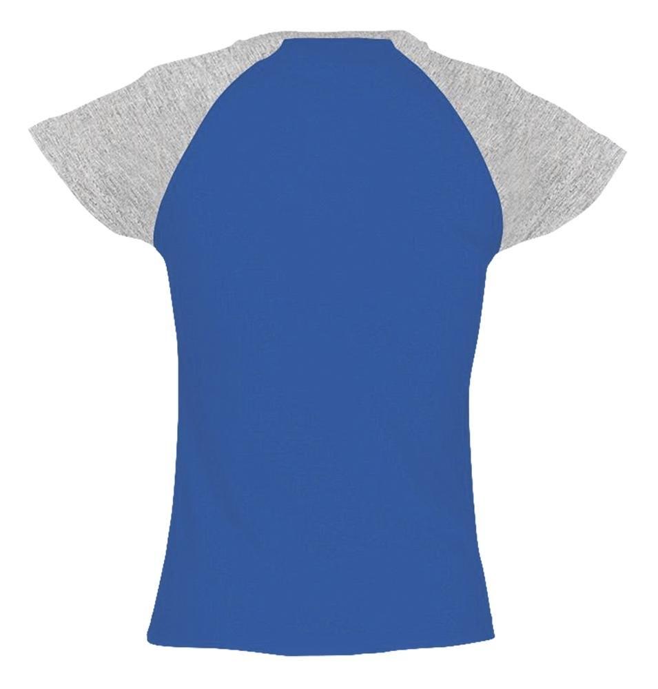Футболка женская Milky 150, ярко-синяя с серым меланжем - 1