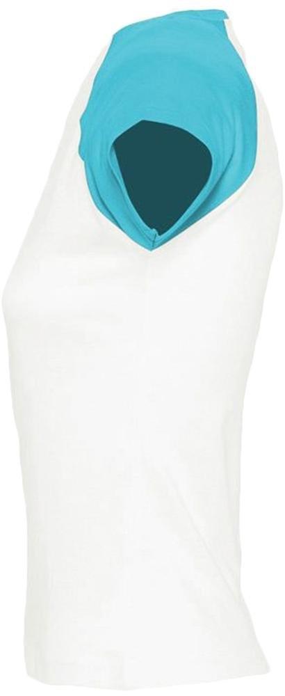 Футболка женская Milky 150, белая с голубым - 2