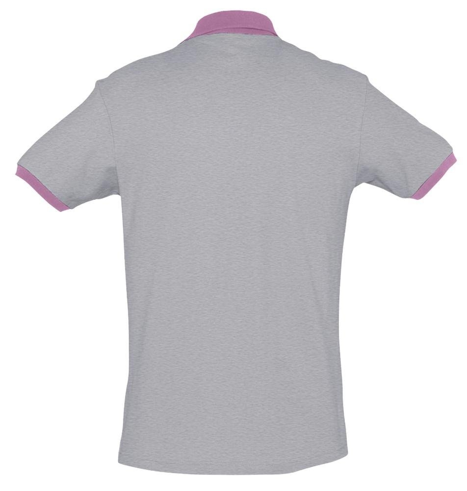 Рубашка поло Prince 190, серый меланж с розовым - 1