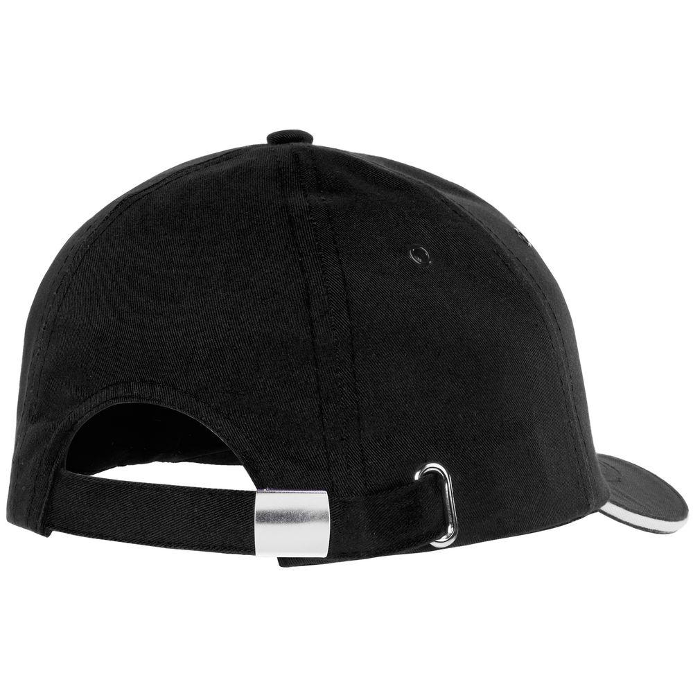 Бейсболка Bizbolka Canopy, черная с белым кантом - 2