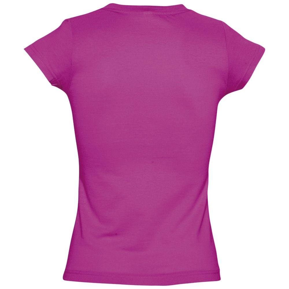 Футболка женская c V-образным вырезом Moon 150, ярко-розовая (фуксия) - 4