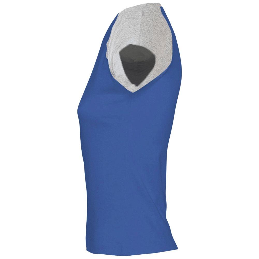 Футболка женская Milky 150, ярко-синяя с серым меланжем - 4