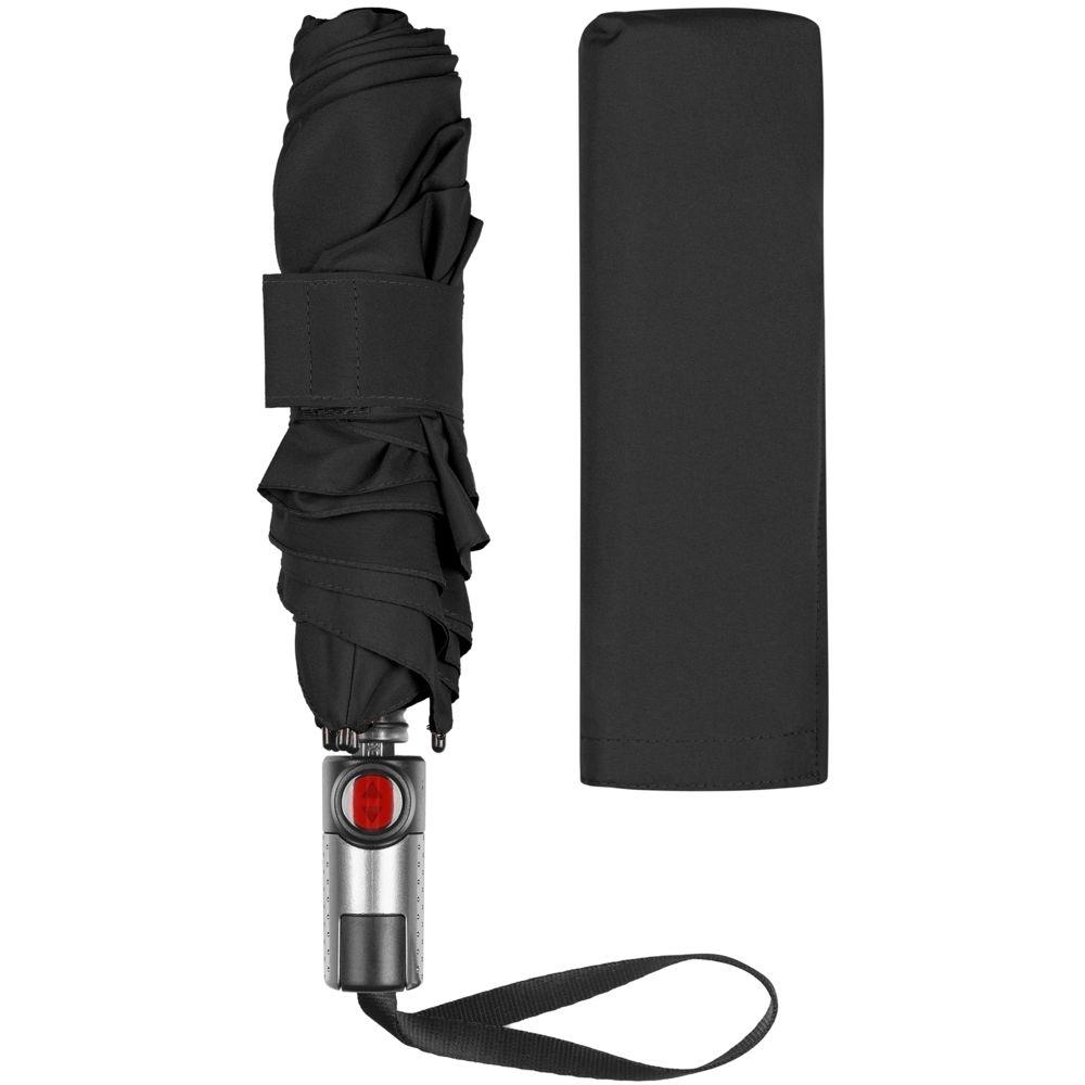 Зонт складной TS220 с безопасным механизмом, черный - 3