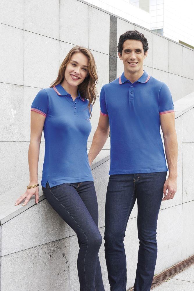 Рубашка поло мужская Pasadena Men 200 с контрастной отделкой, белая с голубым - 4