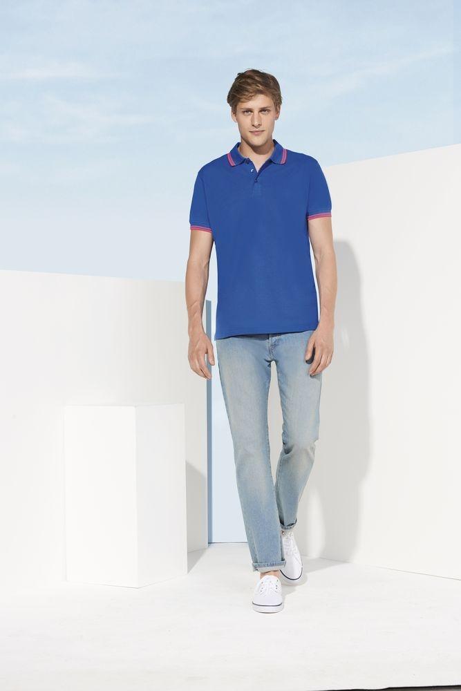 Рубашка поло мужская Pasadena Men 200 с контрастной отделкой, белая с голубым - 3