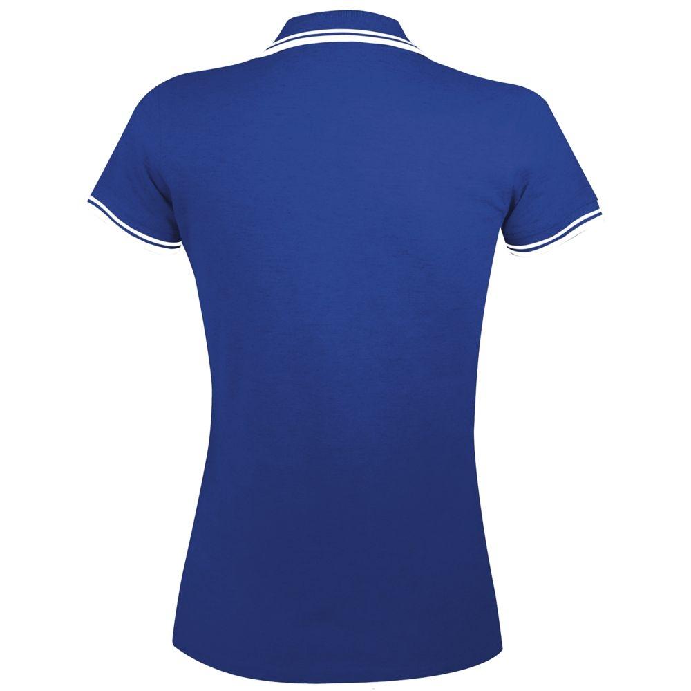 Рубашка поло женская Pasadena Women 200 с контрастной отделкой, ярко-синяя с белым - 5
