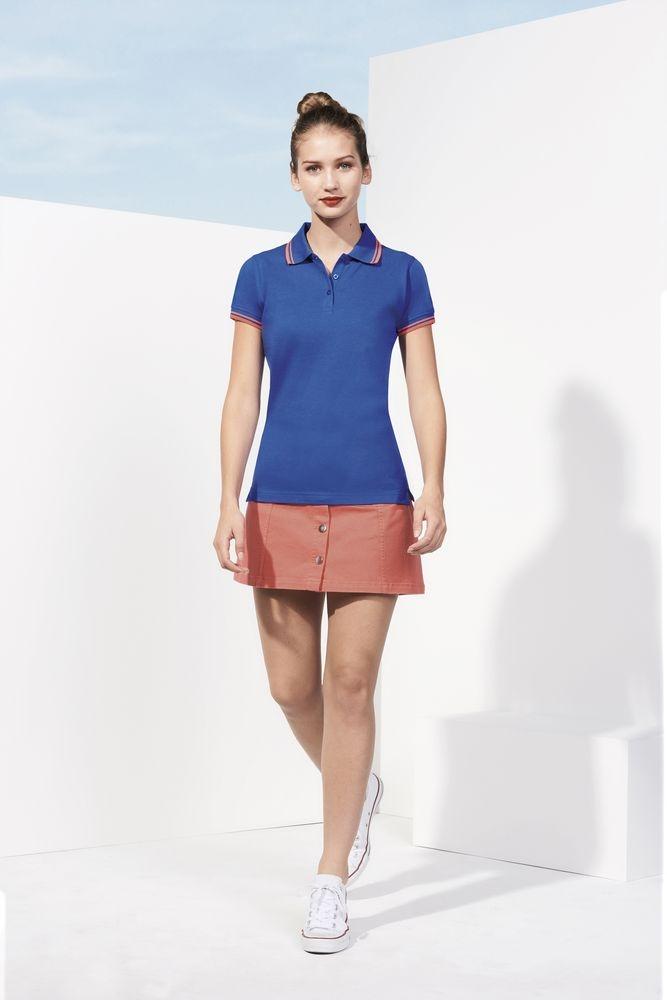 Рубашка поло женская Pasadena Women 200 с контрастной отделкой, белая с голубым - 2