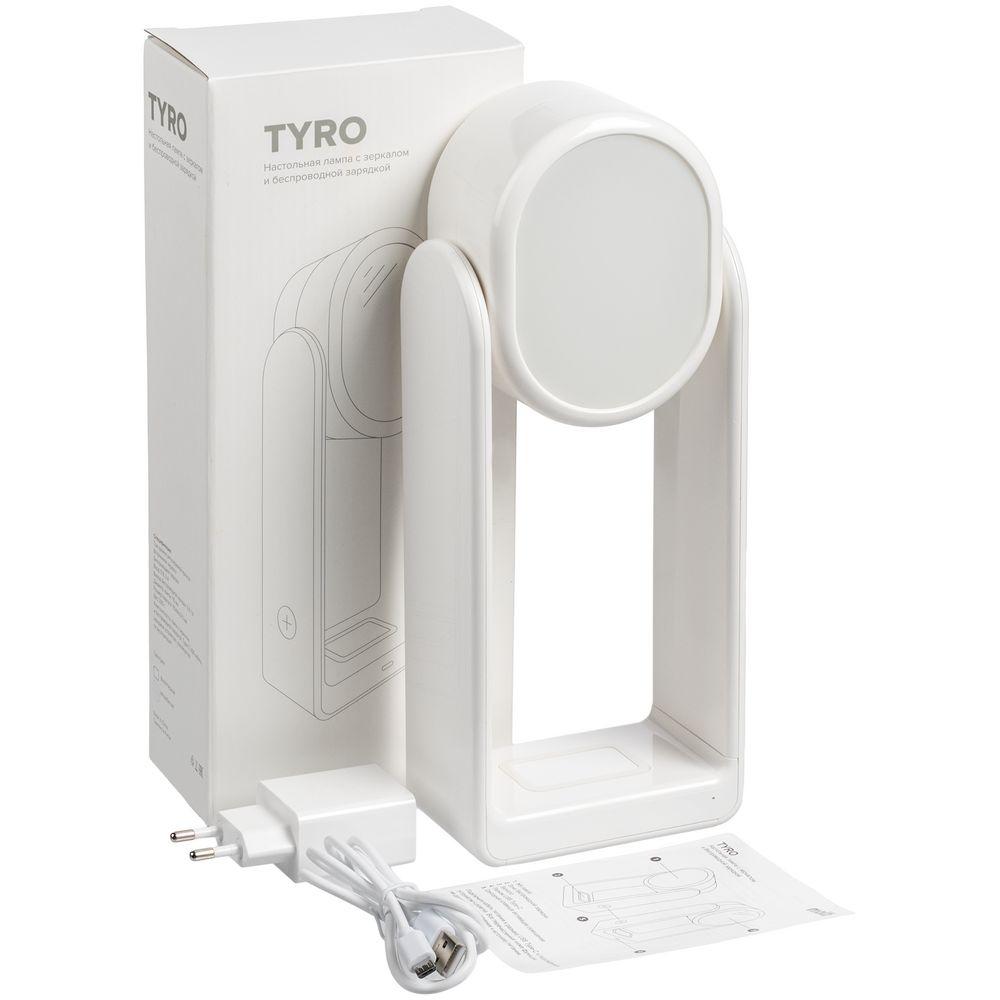 Настольная лампа с зеркалом и беспроводной зарядкой Tyro, белая - 12