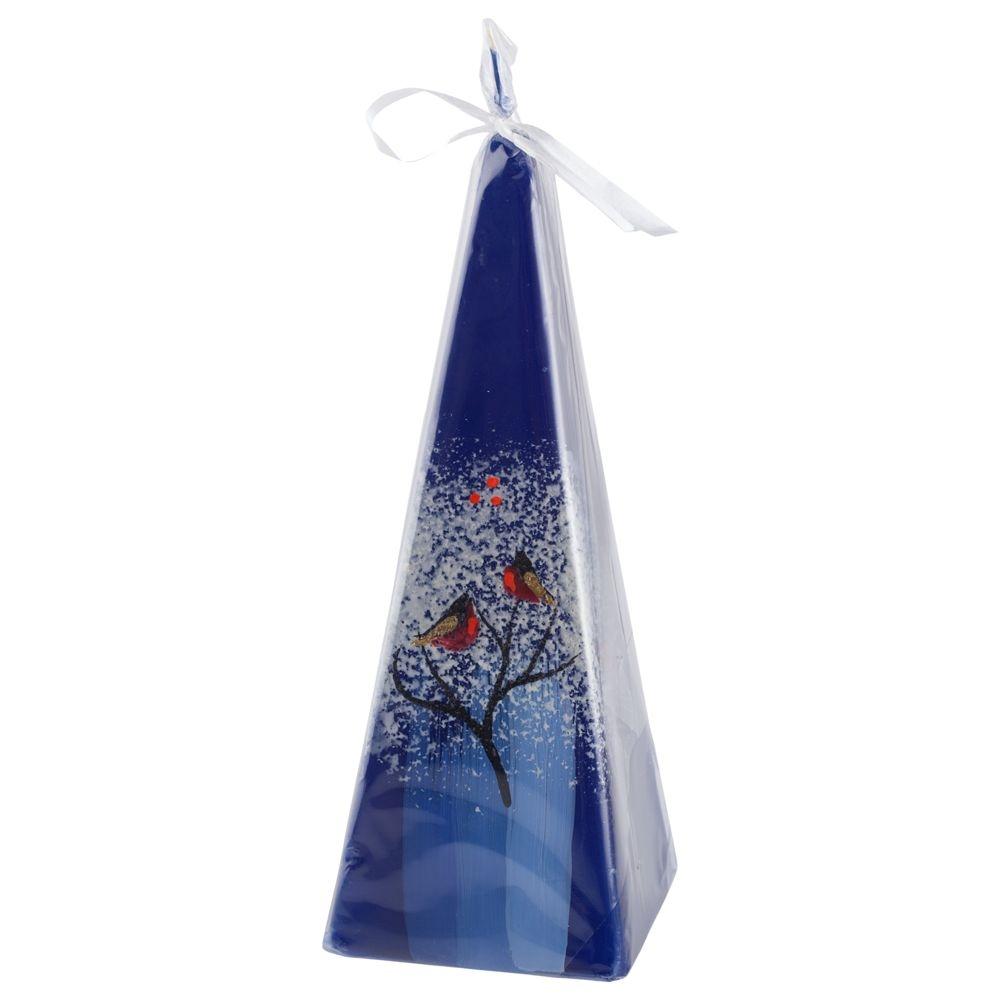 Свеча ручной работы «Снегири на ветке», в форме пирамиды - 1