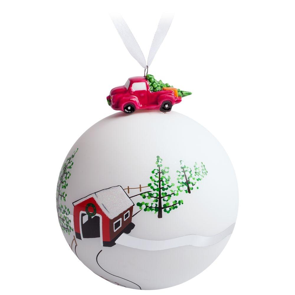 Елочный шар с фигуркой «Лесная избушка», 10 см - 4