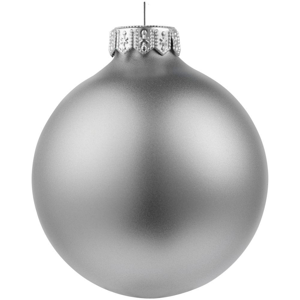 Елочный шар Gala Night Matt в коробке, серебристый, 8 см - 1