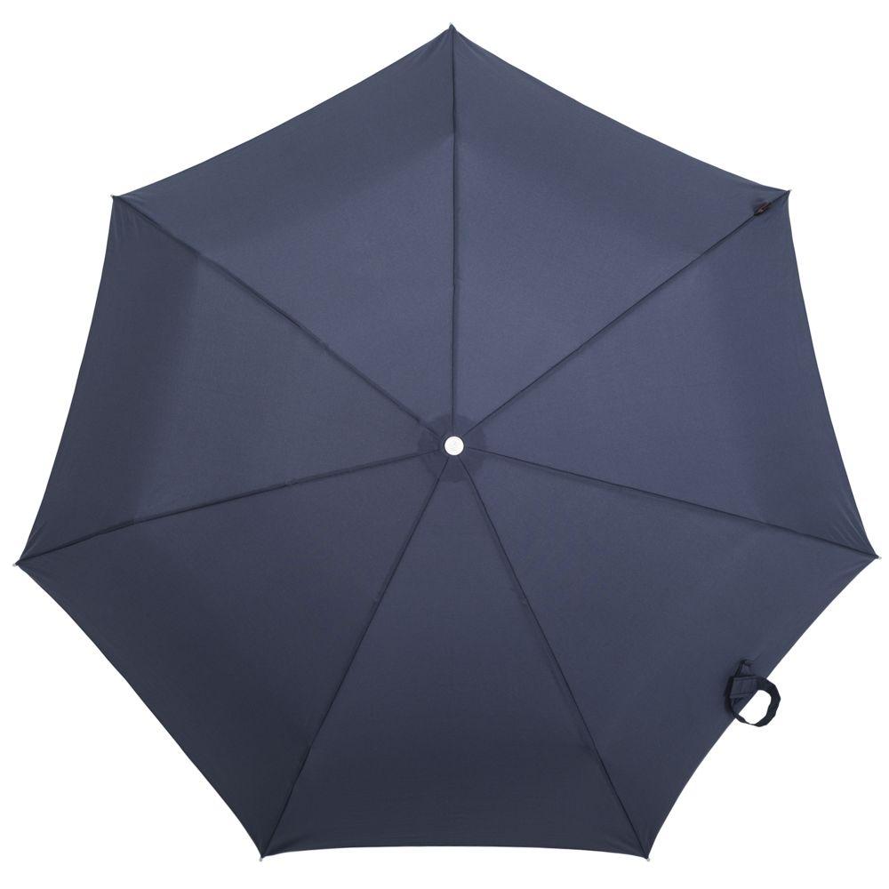 Складной зонт Alu Drop, 3 сложения, 7 спиц, автомат, темно-синий - 2