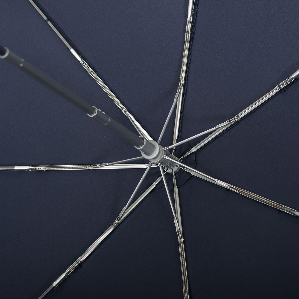 Складной зонт Alu Drop, 3 сложения, 7 спиц, автомат, темно-синий - 4