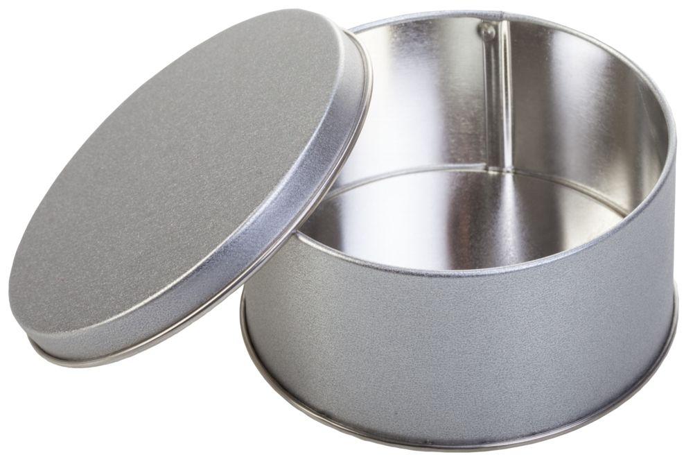 Коробка круглая, малая, серебристая, диаметр 9,9 см, высота 5 см, жесть - 4