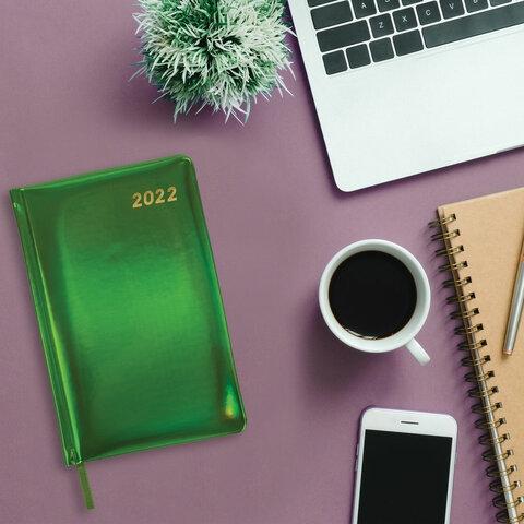 """Ежедневник датированный 2022 А5 138x213 мм BRAUBERG """"Holiday"""", """"зеркальный кожзам"""", зеленый, 112750 - 7"""