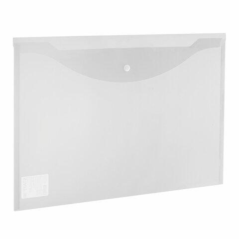 Папка-конверт с кнопкой БОЛЬШОГО ФОРМАТА (300х430 мм), А3, прозрачная, 0,15 мм, STAFF, 228667 - 1