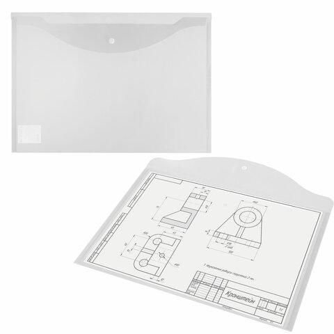 Папка-конверт с кнопкой БОЛЬШОГО ФОРМАТА (300х430 мм), А3, прозрачная, 0,15 мм, STAFF, 228667 - 5
