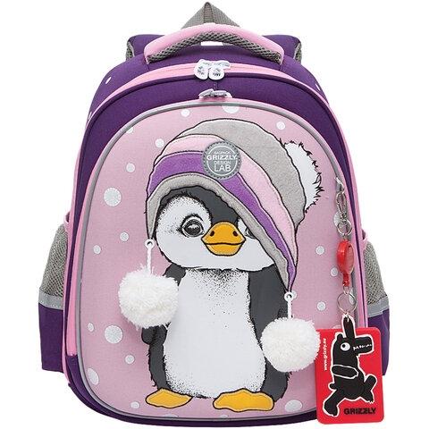 """Ранец GRIZZLY школьный, укрепленные лямки, для девочек, """"Пингвин"""", 36х28х20 см, RAz-186-4/1 - 1"""